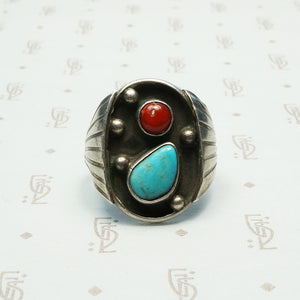 southwest american sterlng turquoise and coral ring circa 1970-80