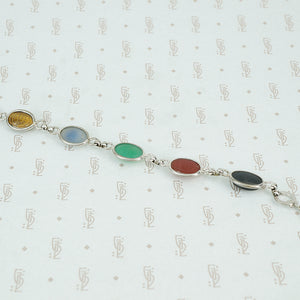 1950's sterling silver bracelet with semi precious stone scarabs back view