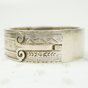 English Silver Hinged Bangle Bracelet 1883
