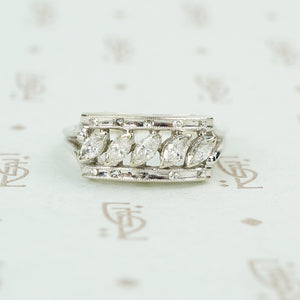 slanted marquis diamonds in white gold wide band 1950's