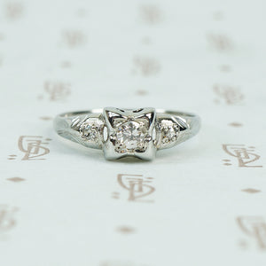 1930's white gold diamond engagement ring