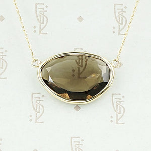 Smokey Quartz in 14k Yellow Gold Necklace by 720