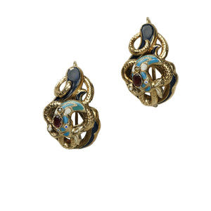 Enameled Antique Snake Earrings