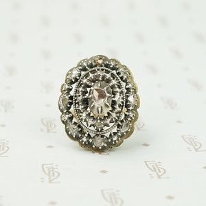 Spanish Rose Cut Diamond Ring in Silver on Gold