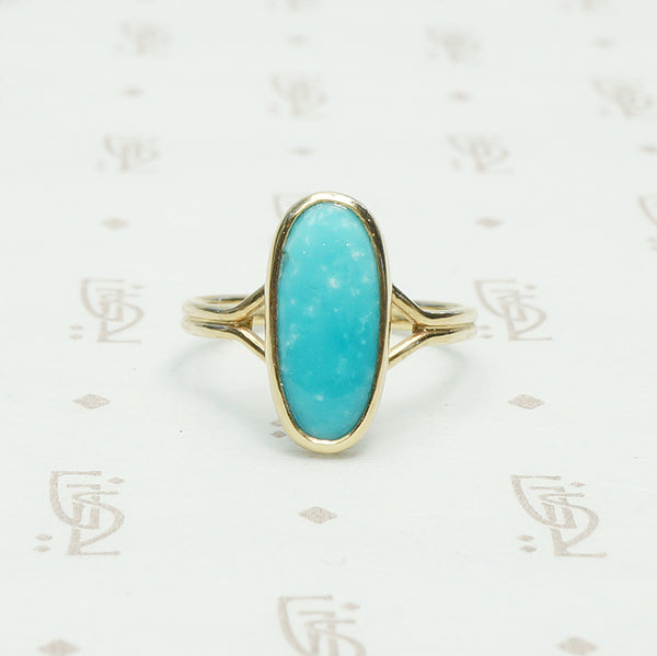 vintage bright blue turquoise in reycled gold ring