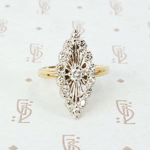 2 tone 14k spoked diamond marquis shaped ring
