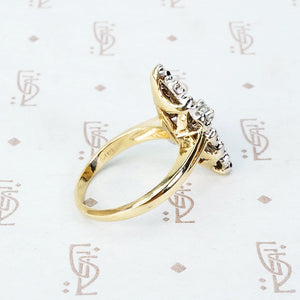 Two Tone Vintage Marquise Shaped Diamond Ring