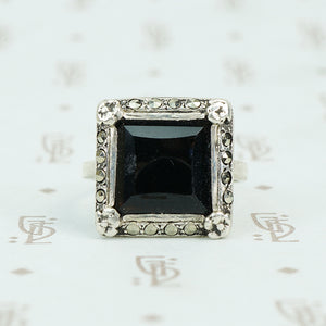 1920's square onyx step side stone set in sterling marcasite frame