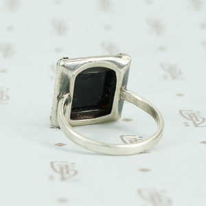 1920's square onyx step side stone set in sterling marcasite frame back view