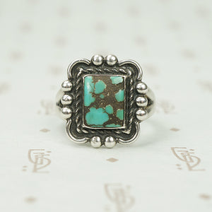 The Square Vintage Sterling Turquoise Ring