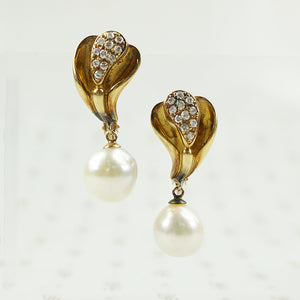 south sea pearl and diamond earrings