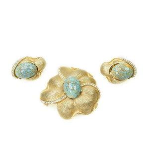 Goldtone and Faux Turquoise signed Star Pin & Earrings