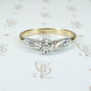 Platinum and 18k Yellow Gold Vintage Engagement Ring