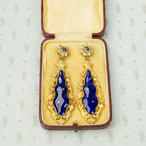 Starry Night Pinchbeck Enamel Earrings
