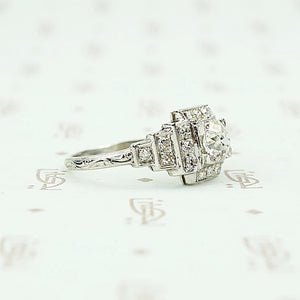 platinum deco engagement ring side
