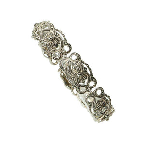 Beautifully Detailed Vintage Sterling and Marcasite Bracelet