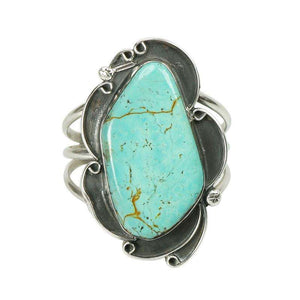 Magnificent Native American Silver and Turquoise Cuff