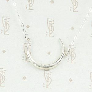 Sterling Silver Victorian Crescent  Moon Necklace by 720