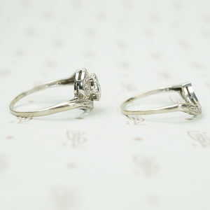 Mid Century Swirl Diamond Wedding Set