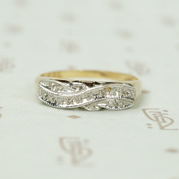 Classic Vintage Two Tone Gold Band With a Twist