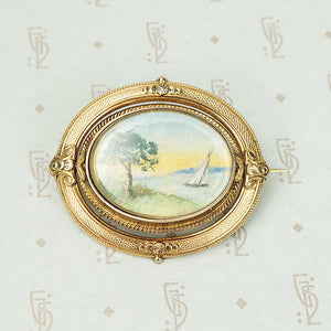 Watercolors in 18k Gold Swivel Frame Brooch