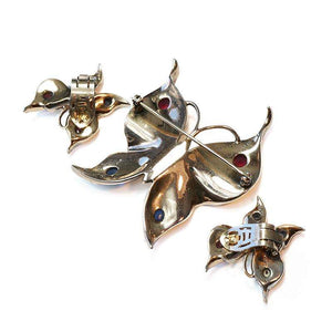 1940's signed Trifari Sterling Butterfly Brooch & Earrings by Alfred Philippe