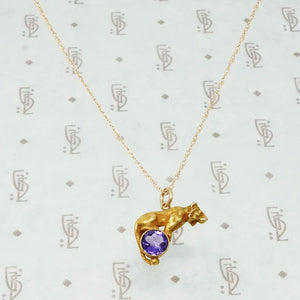 14k gold tiger on an amethyst ball necklace