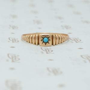 rose gold band with turquoise