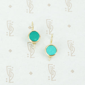 recycled gold and vintage turquoise earrings