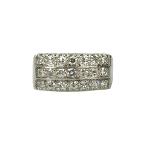 Retro Platinum Triple Row Diamond Band