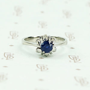 Mid Century Inky-Blue Sapphire Solitaire