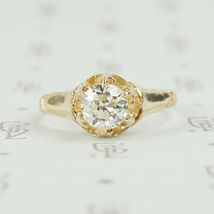old european cut solitaire engagement ring in yellow gold