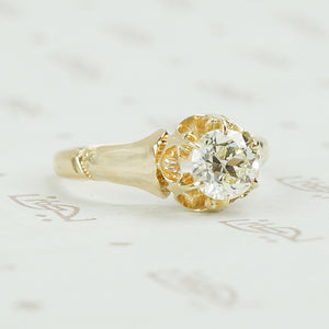 detail view of oec vintage diamond solitaire engagement ring