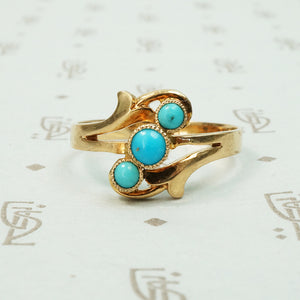 14k rose gold hungarian ring set with 3 bright blue natural turquoise stones