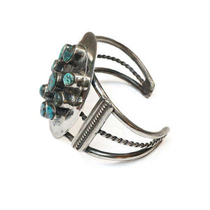 1940's Coin Silver and Turquoise Native American Cuff Bracelet