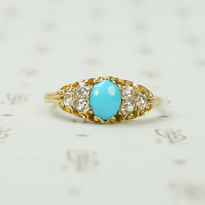 19thc Turquoise and Chunky Cushion Cut Diamond Ring
