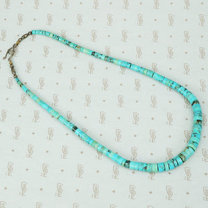 turquoise heishi bead necklace vintage 1970's