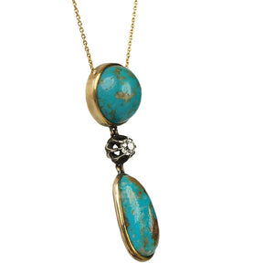 Turquoise and OMC Diamond Pendant Necklace