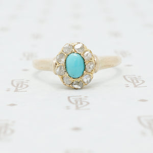 turquoise and rose cut diamond ring