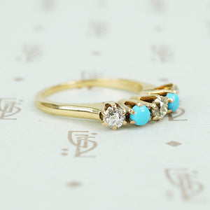 alternating diamond and turquoise band yellow gold prong setting