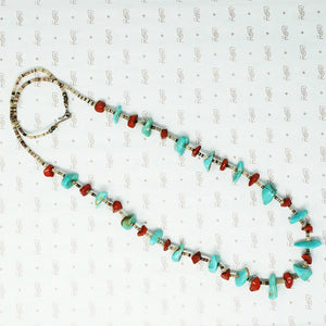 jasper turquoise heishi and silver necklace