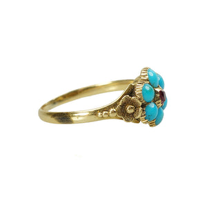 Lovers Georgian Ring Turquoise and Ruby - Gem Set Love