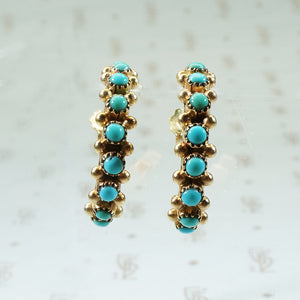 14k gold and turquoise hoop earrings