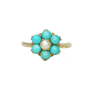 Turquoise and Pearl Pretty Posy Ring - Gem Set Love