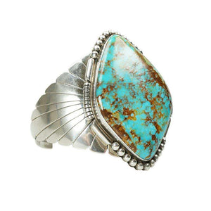 Stunning Large Turquoise and Sterling Cuff Bracelet