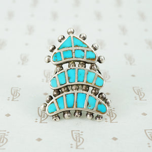inlay turquoise and silver vintage ring
