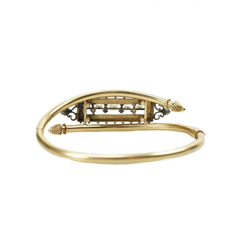 Victorian Gold Bangle Bracelet Turquoise Diamond And Pearl