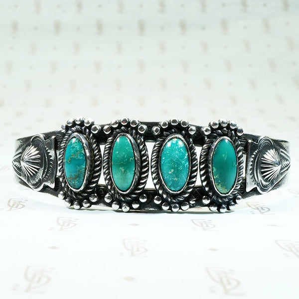 vintage 1950's coin silver and turquoise cuff bracelet