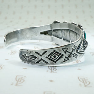 Coin Silver and Turquoise Cuff Bracelet