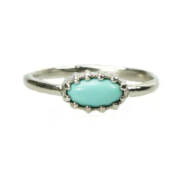 Lovely Vintage Persian Turquoise Ring In 14k White Gold By